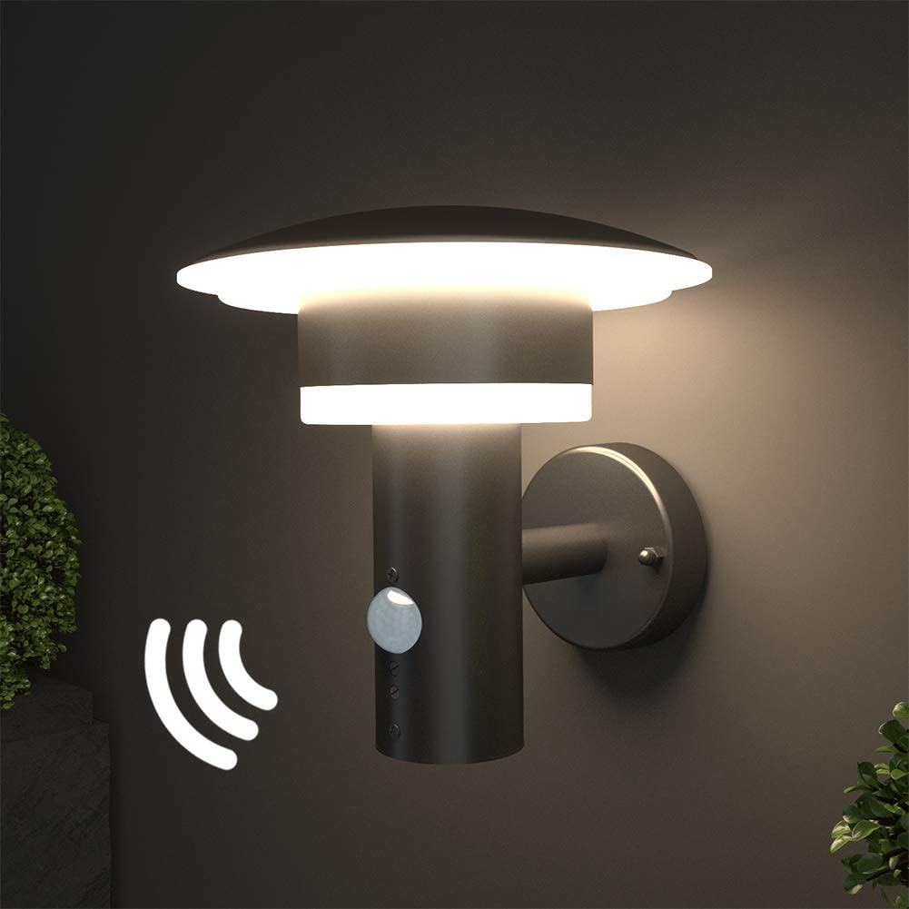 Garage,Cour 3000K Blanc Chaud 9W 220-240V IP44 Sans Capteur PIR NBHANYUAN Lighting/® Applique Murale Ext/érieure LED Lampe Ext/érieure Acier Inoxydable Noir Luminaire Pour Patio