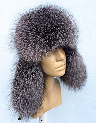- Silver Blue Frost Fox Fur Hat Leather for Ladies Saga Furs