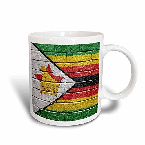 3dRose mug_157017_2 'National flag of Zimbabwe painted onto a brick wall Zimbabwean' Ceramic Mug, 15 oz, White