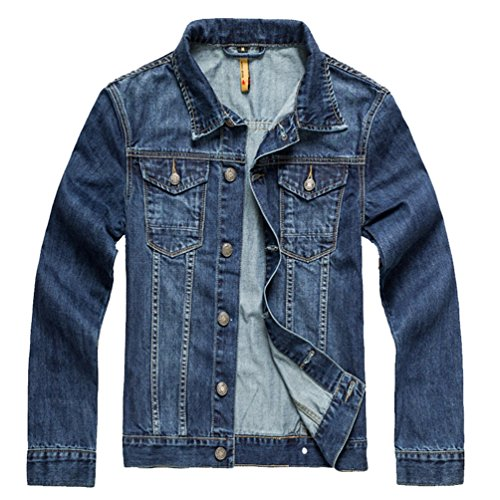 A Outerwear Blu Giubbotto Denim Uomo Yilianda Stonewashed Di Manica Giubbino Jeans Lunga PRYwvq