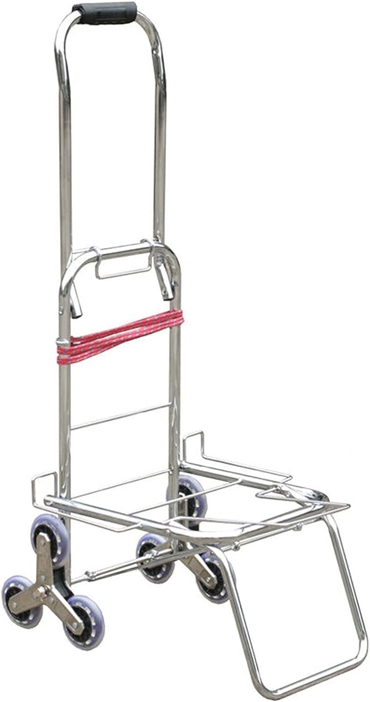 WANGYIYI Carrito de Compras Plegable Carretilla de Mano para Subir escaleras Carritos de Compra portátiles de 6 Ruedas Carro de Equipaje de Acero Inoxidable para Anciano y niño