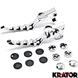 Krator® Chrome Hand Levers Skull Cross Grooved Emblems For Harley Davidson Sportster 883L XL883L 2006-2009
