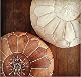 Product review for Set of 2 Amazing Moroccan pouf Tan & Wihte Leather Pouf Best offer, Ottomans,Footstool,100% handmade Ready to magic your living room! Leather