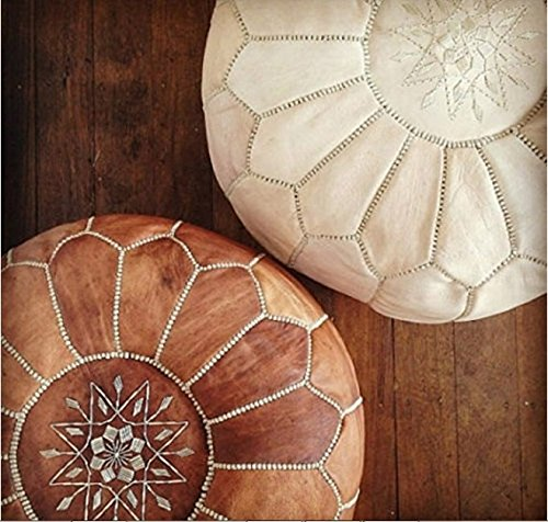 Set of 2 Amazing Moroccan pouf Tan & Wihte Leather Pouf Best offer, Ottomans,Footstool,100% handmade Ready to magic your living room! (Moroccan Pouf)