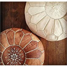ArtOuarzazate Set of 2 Amazing Moroccan pouf Light Tan and Ivory colors,Best offer,Ottomans Poufs,Footstool poufs,100% handmade leather poof,Ready to magic your living room!
