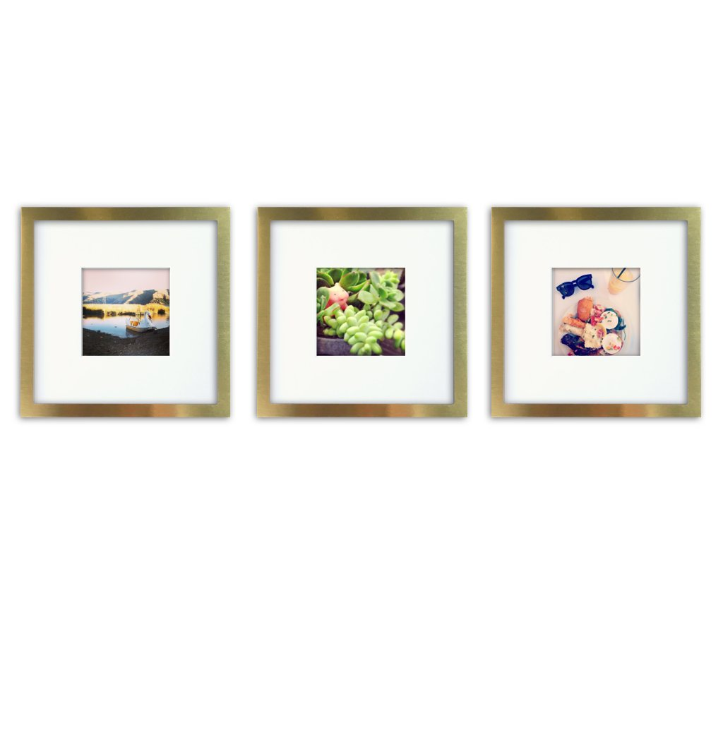 Tiny Mighty Frames 3-Set, Brushed Metal, Square Instagram Photo Frame, 8x8 (4x4 Matted) (3, Gold) by Tiny Mighty Frames
