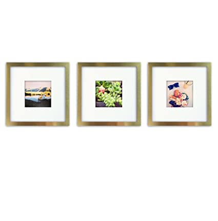 3-Set, Tiny Mighty Frames - Brushed Metal, Square Instagram Photo Frame, 8x8 (4x4 Matted) (3, Gold)