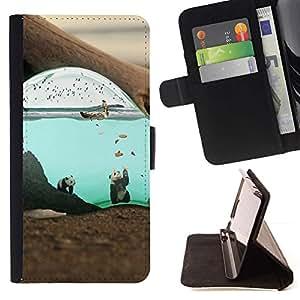 Momo Phone Case / Flip Funda de Cuero Case Cover - Lindo surrealista Submarino Panda;;;;;;;; - Sony Xperia Z3 Compact