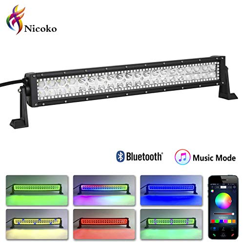 Nicoko 20inch 22inch 120W Combo Beam Led light bar with RGB Chasing Bluetooth Controlled over 300 modes color changing Off Road Light Bar for Jeep Cabin Boat SUV truck Car ATVs,1 Year Warranty