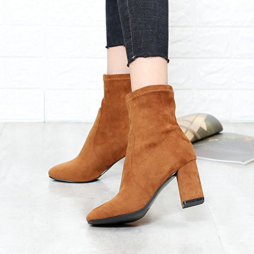 Thirty Boots Autumn Yellow And nine Thick KHSKX Shoes With Simple Boots Boots And And Bare Women'S Tube High Winter Socks Boots Heeled Square Brown HBqddgRw