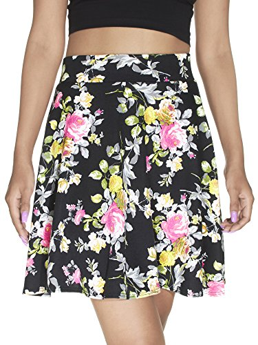 Fuschia Womens Skirt (River Island Pull-On, Floral Print Skater Mini Skirt, Black/Fuschia Roses, Size M)