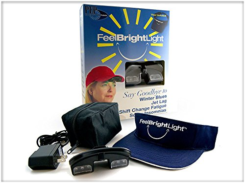 Deluxe Feel Bright Light Portable Light Therapy Device with Visor & Rechargable Battery and Charger (Pep Therapy)