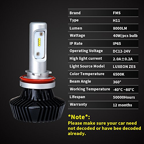 Amazon.com FMS LED Headlight Bulbs Conversion Kit w/ Clear - H11 (H8/H9) - Low Beam /High Beam /Fog Light Bulbs Fanless All-In-One 80W 8000LM 6500K Cool ...  sc 1 st  Amazon.com & Amazon.com: FMS LED Headlight Bulbs Conversion Kit w/ Clear - H11 ... azcodes.com