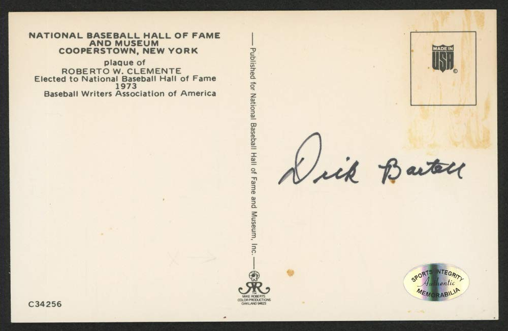 DICK BARTELL SIGNED ROBERTO CLEMENTE HOF HALL OF FAME PLAQUE POSTCARD NY GIANTS