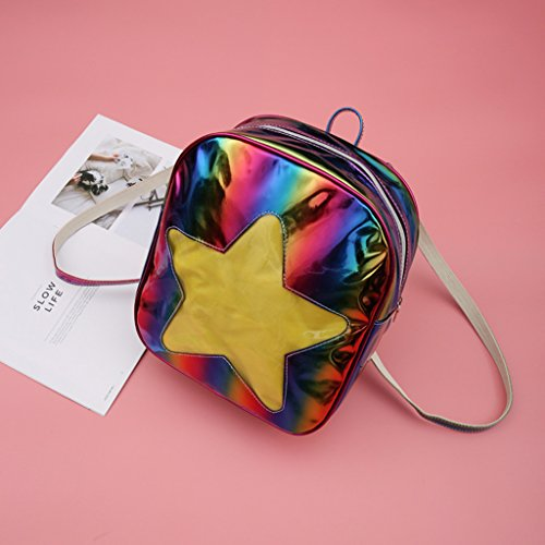 JAGENIE Design Bag with Shoulder Schoolbag Colorful Rainbow Star Women Colorful Holographic Backpack RwxT4zRrq