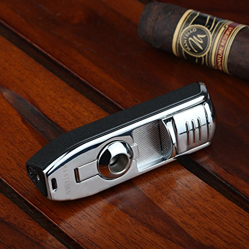 Mantello Cabinet Triple Jet Flame Butane Cigarette Torch Lighter with Cigar Punch Attachment