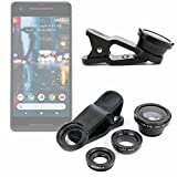 DURAGADGET 3-Piece Smartphone Camera Lens Attachments - Fish Eye, Wide Angle & Macro for Google Pixel | Pixel 2 | Pixel XL | Pixel 2 XL
