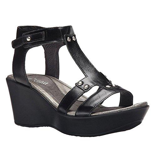 Naot Women's Flirt Wedge Sandal, Black Madras, 38 EU/6.5-7 M (Black Madras)