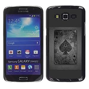 TopCaseStore / la caja del caucho duro de la cubierta de protección de la piel - Ace Spades Grey Poker Gambling Cards - Samsung Galaxy Grand 2 SM-G7102 SM-G7105