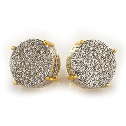 18K Gold Plated ICED OUT Stud Round Earring (Gold) ()