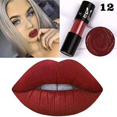 Hunputa Lipstick,Blood Velvet Matte Liquid Lipstick Non-Stick Cup Lip Glosses Long Lasting Waterproof Lip Balm Sexy Charm Cosmetic Makeup Beauty Lip Makeup Tools -