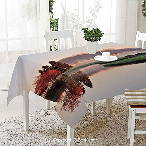 oof Waterproof Tablecloth,Family Table Decoration,Fall,Vibrant Maple and Pine Trees Reflection Stone Bridge Over Creek Fog Houses and Hills,Multicolor,70 x 104 inches ()