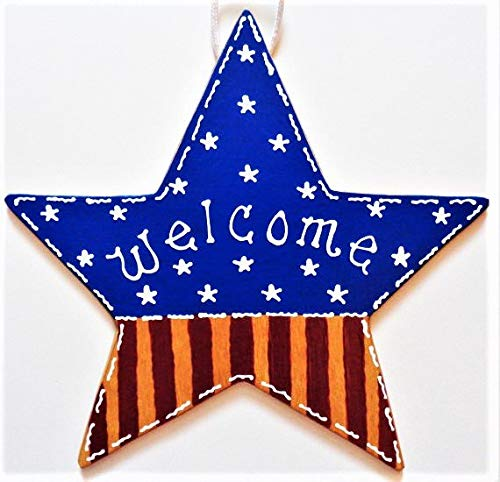 Delia32Agnes Welcome Americana Flag Star Sign Patriotic Door Wall Plaque Porch Hanger Decor Mesh Wreath Embellishment Wood Wooden Door Hanger