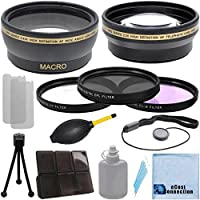 Pro Series 52mm 0.43x Wide Angle Lens + 2.2x Telephoto Lens with an eCostConnection Deluxe Lens Accessories Kit for Nikon D3000 D3100 D3200 D3300 D5000 D5100 D5200 D5500 D7000 D7100 D7200 D600 D610 D700 D750 D800 D90 DSLR