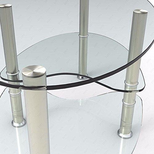 SUNCOO Glass Oval Side Coffee Table Shelf Chrome Base