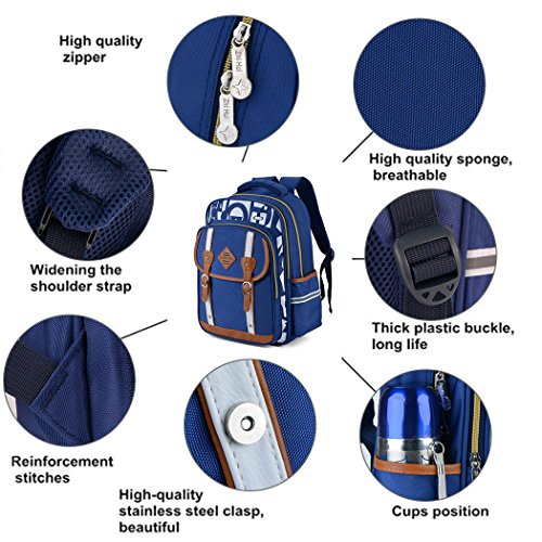 Backpack Kid,Bageek School Bags Backpacks for School Bookbag Rucksack Backpack Waterproof Backpack(blue) by Bageek (Image #5)