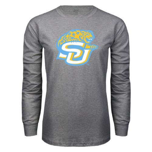 3bcffa171 Amazon.com   Southern University Grey Long Sleeve T Shirt  SU w  Jaguar     Sports   Outdoors