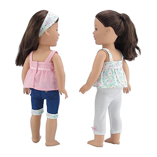 "PK /& WHITE SHIRT W//DENIM SHORTS FITS 18/"" DOLLS AND AMERICAN GIRL Doll clothes"