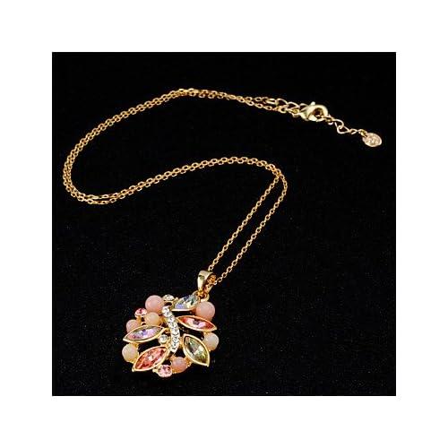 MJW&XL Femme Forme de Feuille Forme Mode Adorable Pendentif de collier Cristal Zircon Cristal Zircon Pendentif de collier Quotidien Formel