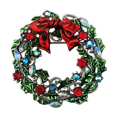 XGALA Red Green Enamel Rhinestone Wreath Christmas Brooch Pin Silver Tone ()