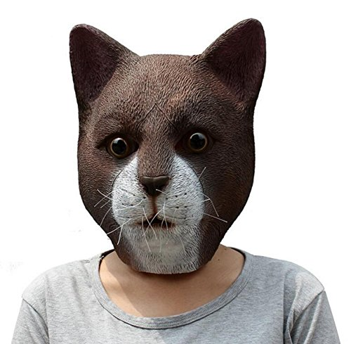 QTMY Latex Rubber Animal Cat Mask for Halloween Party Costume ()