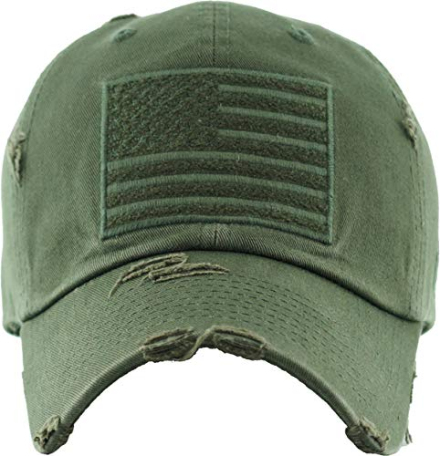 (H-212-AF33 Distressed Baseball Cap Vintage Dad Hat - American Flag (Olive))