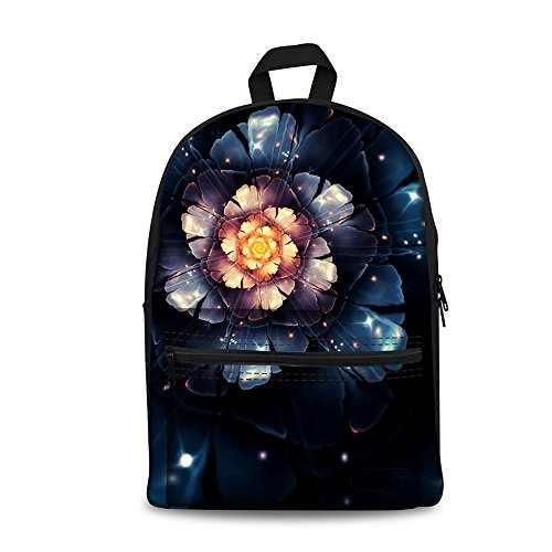 Casual Black ThiKin Bookbags Hiking Backpacks Casual College Backpack Stylish Teenagers Canvas Women Boys Weekend Travelling flower4 Print for Men Girls Bag Trip Laptop School Flower Daypacks rz6qrSv