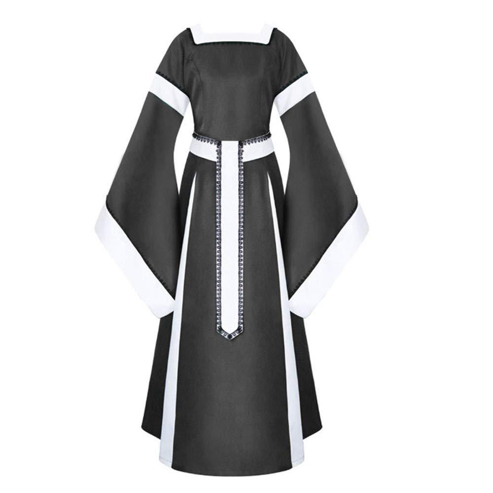 Sunyastor Womens Medieval Dress Renaissance Costumes Irish Over Long Dress Cosplay Retro Gown Gothic Costume Black