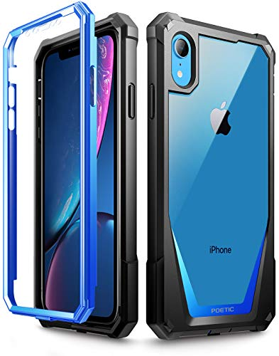 iPhone XR Case, Poetic Guardian [Scratch Resistant Back] Full-Body Rugged Clear Hybrid Bumper Case with Built-in-Screen Protector for Apple iPhone XR 6.1 LCD Display Blue