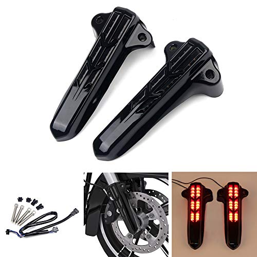 Triclicks Motorcycle LED Front Lower Fork Leg Covers For Harley Davidson Touring Road Glide Road King Street Glide Ultra Limited Electra Glide FLHT FLHX FLHR 2014 2015 2016 2017 2018 (Black) ()