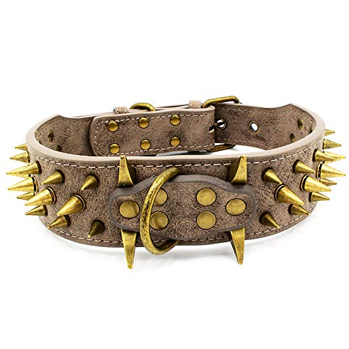 UVONOKAY Sharp Spiked Studded Dog Collar – Stylish Leather Dog Collars – Fit Medium & Large Dogs
