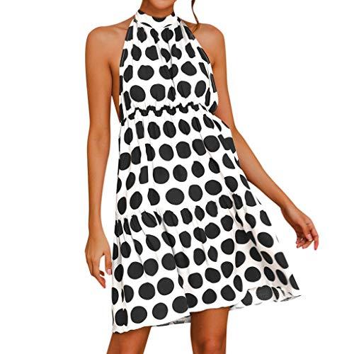 - Dress for Women Casual Summer Dot Print Halter Neck Backless Loose Flowy Dresses (S, Black)