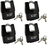 4 Packs of NuSet NuSet Same Keyed 2-1/2'' 64mm High Security Padlock, Shrouded Shackle, Laminated Steel