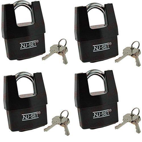 4 Packs of NuSet NuSet Same Keyed 2-1/2'' 64mm High Security Padlock, Shrouded Shackle, Laminated Steel by NUSET