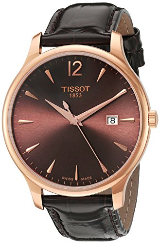 Tissot Women's 'Tradition' Swiss Quartz Gold and Leather Watch, Color Brown (Model: T0636103629700)