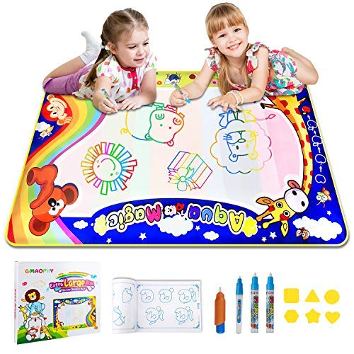 GMAOPHY Aqua Magic Doodle Mat, Large Colorful Water Drawing Mat for Kids/Toddlers Learning Painting Coloring, Educational Toy for Boys Girls Age 2/3/4/5/6 Years Old, Outdoor Toy, Gift Box, 34