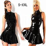 WPC Women's Fashion Sexy Tops PVC Leather Latex Dress Sleeveless With Zipper Bodycon Catsuit Bondage Clubwear Pole Dance Costume Black S