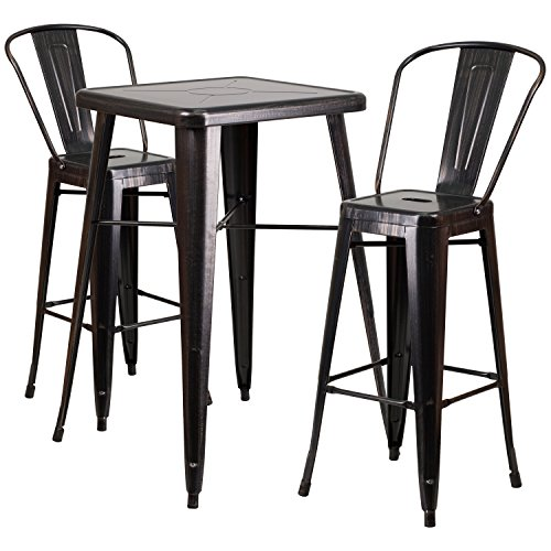 Flash Furniture 23.75'' Square Black-Antique Gold Metal Indoor-Outdoor Bar Table Set with 2 Stools with Backs by Flash Furniture