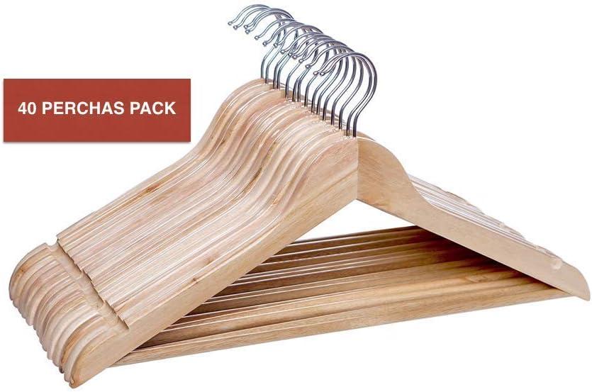 Perchas de Madera - Perchas de madera para traje (40 unidades ...