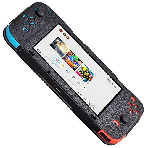 Zongteng Nintendo Switch Case, Anti-slip Soft PU Leather Protective Cover for Nintendo Switch (Black)
